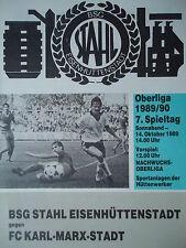 Program 1989/90 Bsg Steel eisenhüttenstadt - Fc Karl Marx City