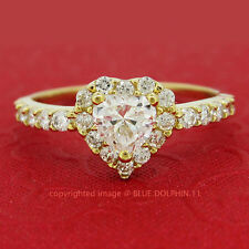 Real Solid 9ct Yellow Gold Love Heart Engagement Wedding Rings Simulated Diamond