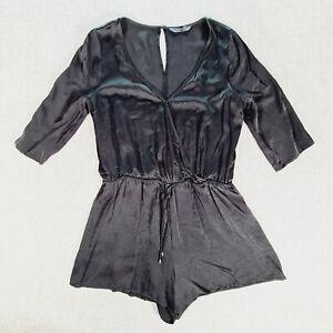 DECJUBA Womens Black 1/2 Sleeve Romper Playsuit Size 10