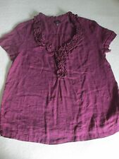 Talbots Purple Plum Short Sleeve Linen Bouse Top Shirt Size 10 Ruffled Neckline