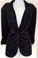 Womens Frank Lyman Black Single Breasted Velvet Devore Ruched Cuffs Jacket 20.
