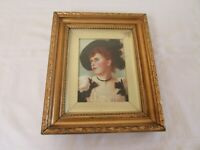 "Oil Portrait French 19th century Antique Gilt frame Society Lady Small 10"" x 12"