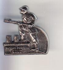 RARE PINS PIN'S .. POMPIER FIRE CASERNE LANCE ARGENT 3D BRUZ BRETAGNE 35 ~W1