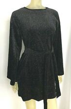 Boohoo Womens Dress Size 10 Black Sequin Long Sleeve Flare Mini Party NEW