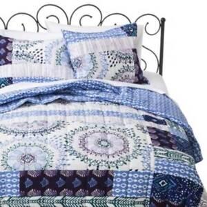 Xhilaration Medallion Quilted Pillow Sham Standard Blue White Purple