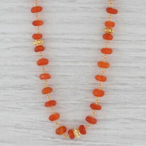 New Nina Nguyen Melody Carnelian Bead Necklace Sterling Gold Vermeil Adjustable