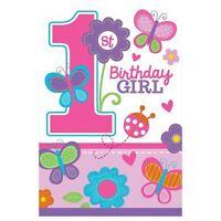 8pk Sweet Birthday Girl Invites Postcard Baby 1st Party Stationery