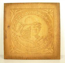 Profil d'homme Bas-relief panneau de bois sculpté carved wooden panel 30 cm