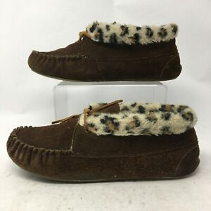 Minnetonka Womens 9 Casual Moccasin Slippers Brown Leather Leopard Dyed Faux Fur