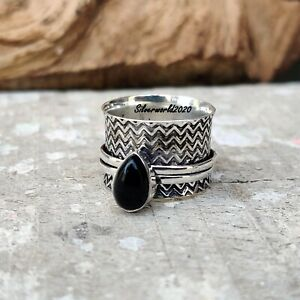 Black Onyx Spinner Ring 925 Sterling Silver Plated Handmade Ring Size 7 gt233