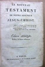 1813 NOUVEAU TESTAMENT JESUS CHRIST EDITION STEREOTYPE BIBLE MESSE EGLISE LIVRE