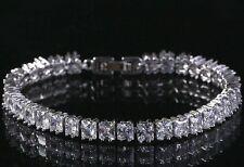 4 CT Princess Cut Diamond H Tennis Bracelet 14K White Gold Enhanced Size 7.35