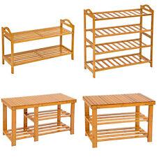 Holz Schuhregal mit oder ohne Sitzbank Schuh Bambus Schuhschrank Schuhständer