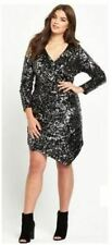 Black Sequin Wrap Bodycon Dress Size 24 Stretch BNWT So Fabulous RRP £80
