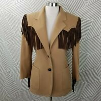 Vintage Cowgirl Wool size 6 Leather Fringe trim Western Jacket Coat Tan cosplay