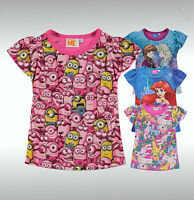 Infant Girls Branded Character Printed Regular Fit Sub T Shirt Top Size Age 7-13