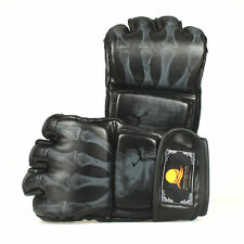 New MMA UFC Sparring Grappling Boxing Fight Ultimate Mitts Leather Gloves Black