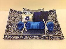 BLUE & SILVER BROCADE BEDDING SET FOR BARBIE, MONSTER HIGH, OR BRATZ DOLLS