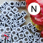 """N"" White Square Alphabet Letter Acrylic Plastic 7mm Beads 37C9129-n"