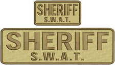 Sheriff SWAT embroidery patch 3x10 and 2x4 hook on back brown letters