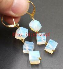 Pretty!8mm Sri Lanka Moonstone Square Beads Earring Gemstone AAA