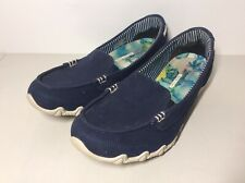 Skechers Womens Size 9.5 Bikers Sailors Slip On Loafer Shoes Blue 49258