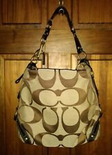 Coach Carly Signature Brown Canvas With Leather Trim Hobo Large Bag 10620