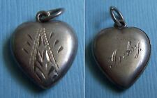 """Vintage etched puffy heart """"Inky"""" sterling charm"""