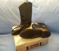 Lehigh Marigum Black Leather Safety steel toe boots shoes 10C Narrow non-mark