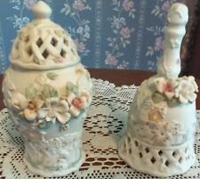 HOME DECOR BELL AND COVERED URN DECORATED WITH FLOWERS AND BIRDHOUSES