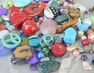 WHOLESALE LOT Mixed Beads 1 Pound Gemstone Glass Shell Coral Porcelain