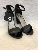 G By Guess New Womens Shantel Black Peep Toe Block Glitter Heels Shoes Size 10 M
