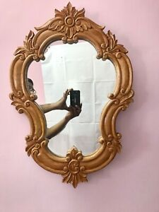 Indian Hard Wood Mahogany Wooden Framed Vanity Mirror Home Decor Collectible.
