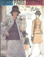 1960s Vintage VOGUE Sewing Pattern B36 SUIT JACKET SKIRT BLOUSE (1376) By Patou
