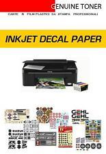 kit carta decalcomanie per stampa inkjet: 6 fogli A4 (3 fondo bianco + 3 clear)