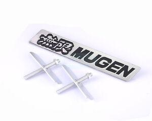 Black Mugen Power Metal Chrome Hood Front Grille Grill Badge Emblem For AC HOND