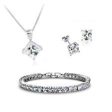 18K Gold GP SWAROVSKI Element Crystal Cubic Earring Necklace Set Silver