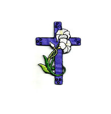 Cross - Easter - Lilies - Purple Cross - Church - Embroidered Iron On Patch