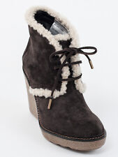 New  Moncler Brown Suede Merino Fur Booties Size 36  US 6