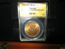 GOLD - 1 OUNCE LIBERTY HEAD DOUBLE EAGLE 1896 ANACS  MS-63 WITH A REPUNCHED DATE