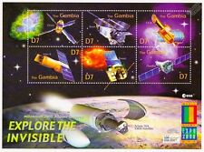 EXPLORE THE INVISIBLE: Spacecraft/Satellite Space Stamp Sheet (2000 Gambia)