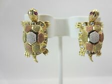 14K Yellow White and Rose Turtle Earrings With Movable Head Feet Multi-color