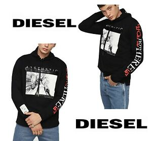 Diesel T-Fonty-YB Men's Hooded T-Shirts 100% Cotton Black Long Sleeve Tops