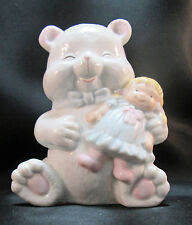 White Bear Holding Doll Blue Tie Dress Ceramic Table Lamp Night Light Unisex