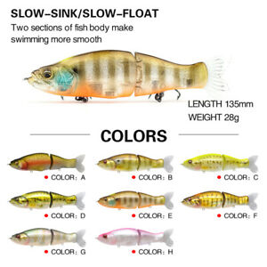 S-Waver 135mm Style Hard Body Jointed Slow Sinking Swimbait 28g - Choose Color