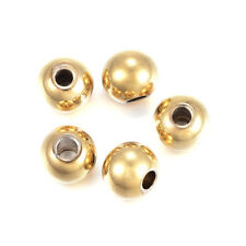 200pcs Gold Tone 304 Stainless Steel Metal Beads Smooth Loose Spacers Round 4mm