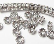 50 Glas Strasssteine 8mm Rondell Spacer Perlen Metallperlen Klar Silber R25A