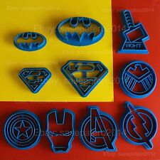 Superhero, Marvel, Avengers, Batman, Superman, Flash cookie cutter 10 pieces lot