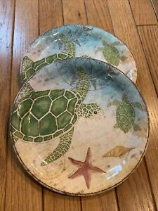 "(Set of 4) Pier 1 - Speedy the Turtle 9"" Melamine  Luncheon / Salad Plates"
