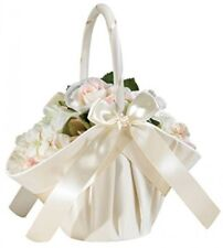 Lillian Rose Elegant Large Satin Flower Girl Basket Ivory